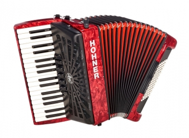 Hohner Akkordeon Bravo III 72 Red silent key