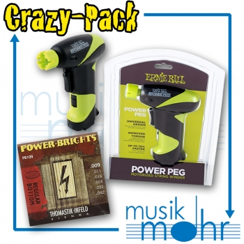 Musik Mohr Crazy-Pack CP18 Ernie Ball Power Peg Saitenkurbel elektrisch + Thomastik Power Brights PB109