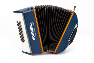 HOHNER Akkordeon, XS, blau-orange, Knopf-Version, Kinder-Tragegeschirr